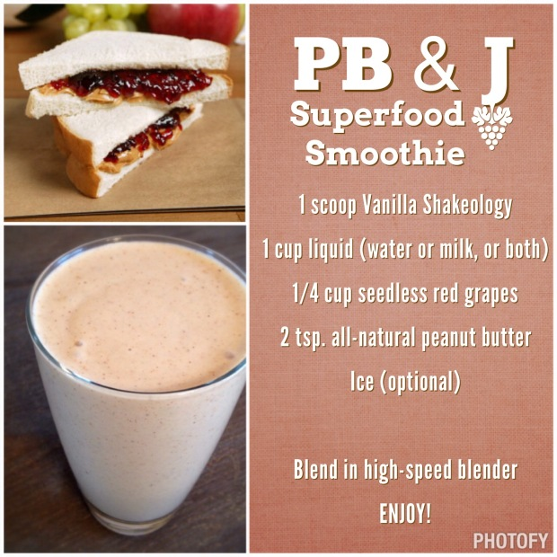PB and J Shakeology Recipe